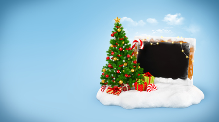 drifting: Christmas tree with gift boxes, candies and empty blackboard on snowdrift at blue background. Unusual christmas illustration