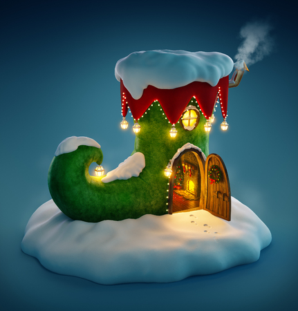 elf: Amazing fairy house decorated at christmas in shape of elfs shoe with opened door and fireplace inside. Unusual christmas illustration. Stock Photo