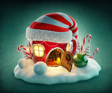 elf cartoon: Amazing fairy house in elfs hat decorated at christmas in shape of tea cup with opened door and fireplace inside. Unusual christmas illustration.