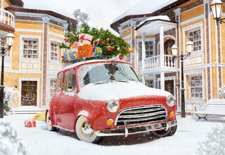 travel illustration: Amazing funny retro car with christmas tree and gift boxes on the roof in the cute city. Unusual christmas illustration