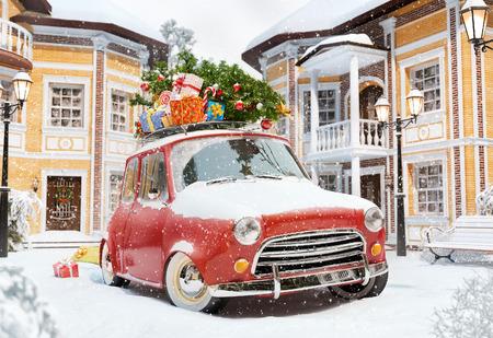 travel: Incroyable voiture rétro drôle avec arbres et boîtes-cadeau de Noël sur le toit dans la ville mignon. Insolite illustration noël