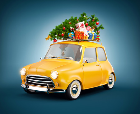 trip: Retro car with gift boxes and christmas tree. Unusual christmas illustration Stock Photo