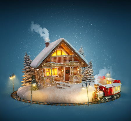 log: Decorated log house with christmas lights  and magical train on blue background. Unusual Christmas illustration