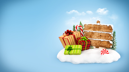 snowdrift: Christmas gift boxes, candies and empty wooden sign on snowdrift at blue background. Unusual christmas illustration
