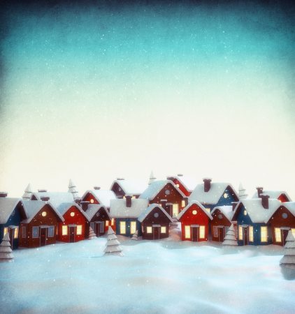 miracle tree: Cute little fairy town with cartoon houses in winter. Unusual christmas illustration