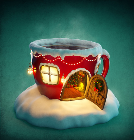 an unusual: Amazing fairy house decorated at christmas in shape of tea cup with opened door and fireplace inside. Unusual christmas illustration.