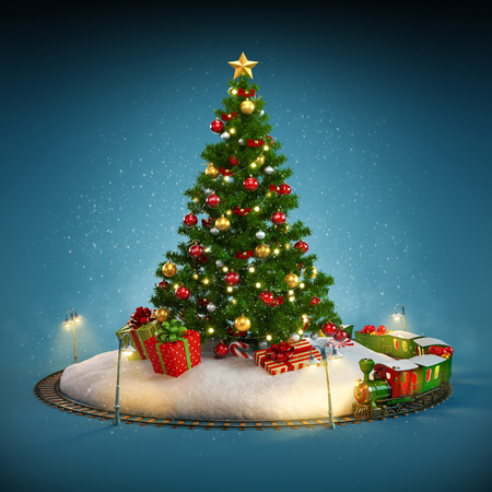 christmas gifts: Christmas tree, gifts and railroad on blue background. Unusual Christmas illustration Stock Photo