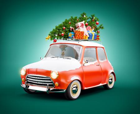 ギフト ボックス、クリスマス ツリーとレトロな車は。珍しいクリスマス イラスト 写真素材