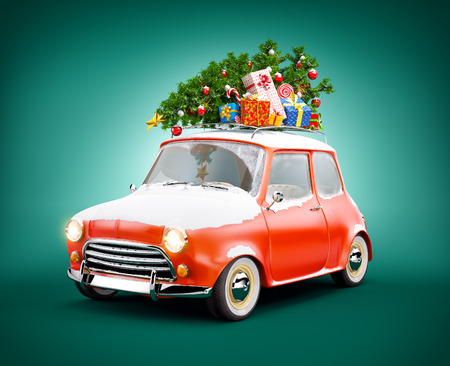 winter car: Retro car with gift boxes and christmas tree. Unusual christmas illustration Stock Photo