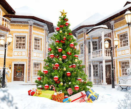 Wonderful christmas tree with gift boxes in cute city. Unusual christmas illustration