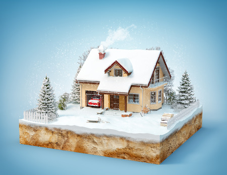 Cute house on a piece of earth with snowed garden and trees in winter. Isolated