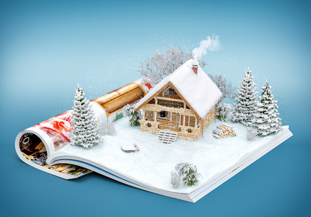 european: Cute log house on a page of opened magazine in winter. Unusual winter illustration