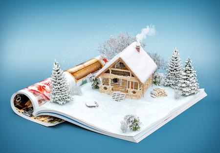 Roztomilý srub na stránce otevřené časopisu v zimě. Neobvyklé zimní ilustrace