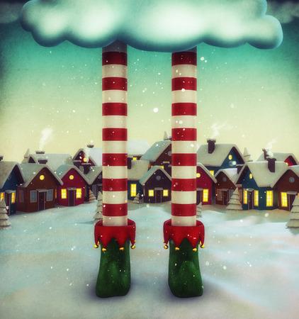 Amazing fairy illustration with elf and cartoon houses. Unusual christmas illustration.