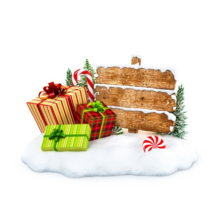 snowdrift: Christmas gift boxes, candies and empty wooden sign on snowdrift at white  background. Unusual christmas illustration
