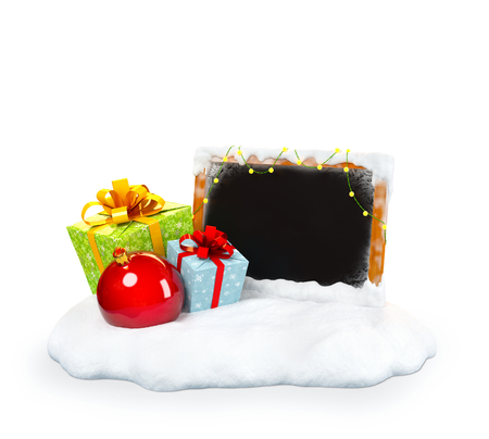 snowdrift: Christmas gift boxes and empty blackboard on snowdrift at white  background. Unusual christmas illustration Stock Photo