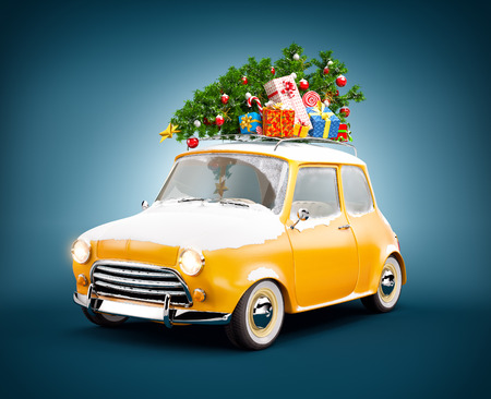 Retro car with gift boxes and christmas tree. Unusual christmas illustration Stock Photo