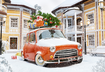winter car: Amazing funny retro car with christmas tree and gift boxes on the roof in the cute city. Unusual christmas illustration