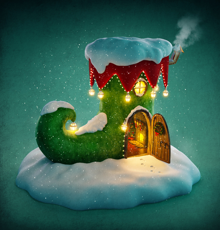 elf cartoon: Amazing fairy house decorated at christmas in shape of elfs shoe with opened door and fireplace inside. Unusual christmas illustration. Stock Photo
