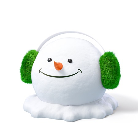 earmuff: Happy snowman head in a earmuff on a snowdrift at white background. Unusual christmas illustration. Stock Photo