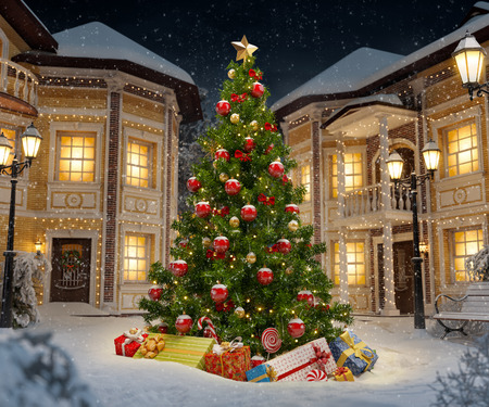 Wonderful christmas tree with gift boxes in cute city at night. Unusual christmas illustration
