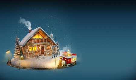 snow covered: Decorated log house with christmas lights  and magical train on blue background. Unusual Christmas illustration
