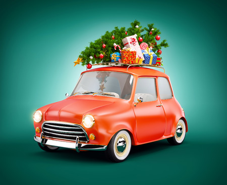 cartoon christmas eve: Retro car with gift boxes and christmas tree. Unusual christmas illustration Stock Photo