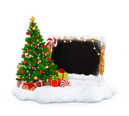 Christmas tree with gift boxes, candies and empty blackboard on snowdrift at white  background. Unusual christmas illustration
