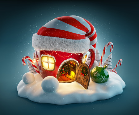 Amazing fairy house in elfs hat decorated at christmas in shape of tea cup with opened door and fireplace inside. Unusual christmas illustration.