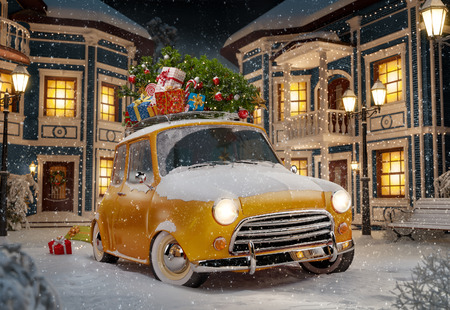 winter window: Amazing funny retro car with christmas tree and gift boxes on the roof in the cute city at night. Unusual christmas illustration Stock Photo