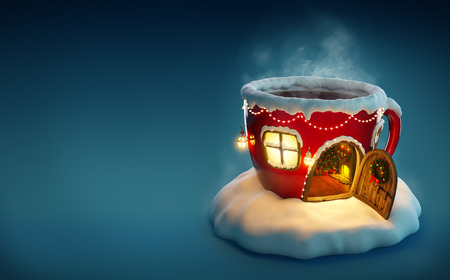 creativo: Casa de hadas increíble decorado en Navidad en forma de taza de té con la puerta abierta y chimenea interior. Ilustración de Navidad inusual. Foto de archivo
