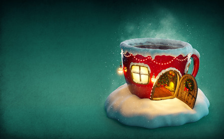 Amazing fairy house decorated at christmas in shape of tea cup with opened door and fireplace inside. Unusual christmas illustration.