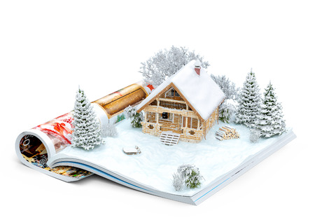 Cute log house on a page of opened magazine in winter. Unusual winter illustration. Isolated Archivio Fotografico
