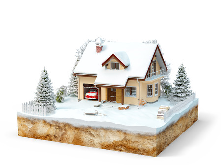 cute house: Cute house on a piece of earth with snowed garden and trees in winter.