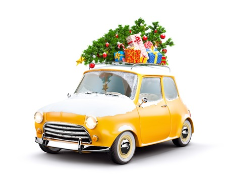 Retro car with gift boxes and christmas tree. Unusual christmas illustration Reklamní fotografie - 49156303