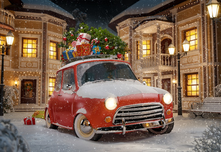 winter car: Amazing funny retro car with christmas tree and gift boxes on the roof in the cute city at night. Unusual christmas illustration Stock Photo