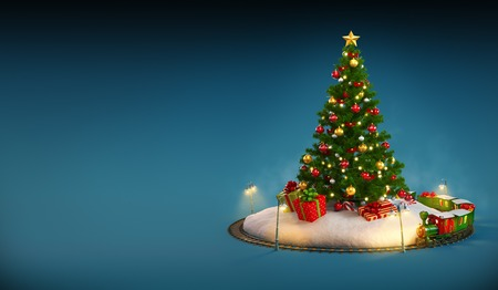 unusual: Christmas tree, gifts and railroad on blue background. Unusual Christmas illustration Stock Photo