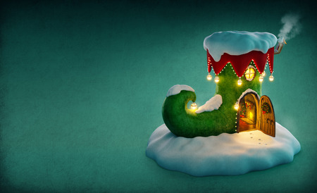 gnomes: Amazing fairy house decorated at christmas in shape of elfs shoe with opened door and fireplace inside. Unusual christmas illustration. Stock Photo