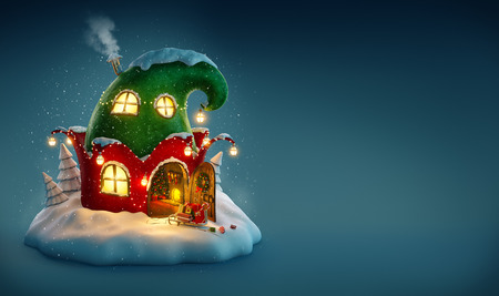 elf cartoon: Amazing fairy house decorated at christmas in shape of elfs hat with opened door and fireplace inside. Unusual christmas illustration.