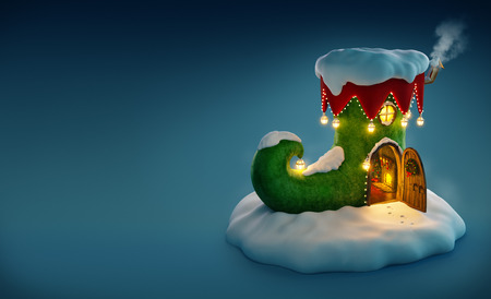 elf's: Amazing fairy house decorated at christmas in shape of elfs shoe with opened door and fireplace inside. Unusual christmas illustration. Stock Photo