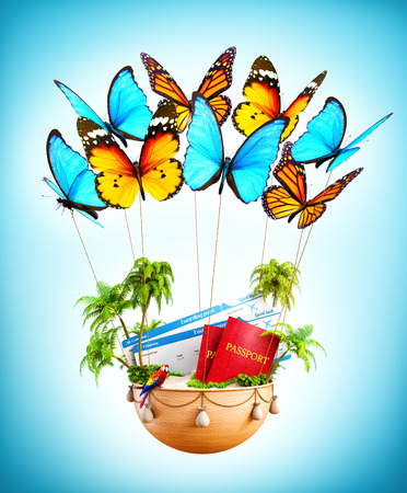 parrot flying: Flying butterflies carrying a basket with tropical island, passports and boarding passes inside. Unusual travel illustration