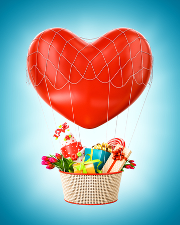 gift basket: Cute hot air balloon with a basket full of gifts and sweets. Unusual Valentines day illustration.