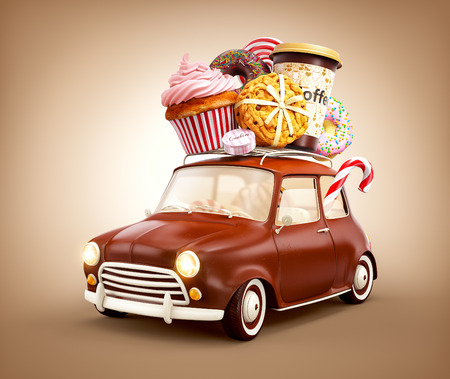 pastries: Cute fantastic chocolade car with sweets and coffee on top.