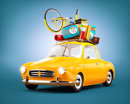 summer holiday: Retro car with luggage. Unusual  travel illustration Stock Photo