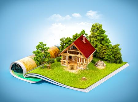 오픈 잡지의 페이지에 숲에서 귀여운 시골 집. 특이한 여행 그림 스톡 콘텐츠