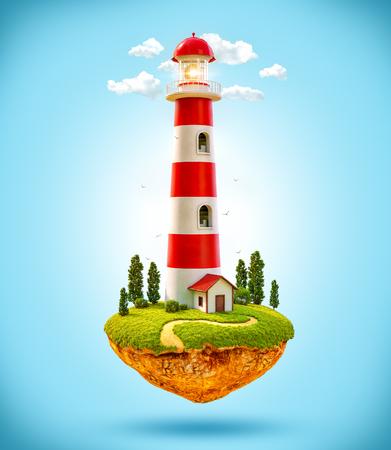 levitating: Fantastic lighthouse on a levitating island. Stock Photo