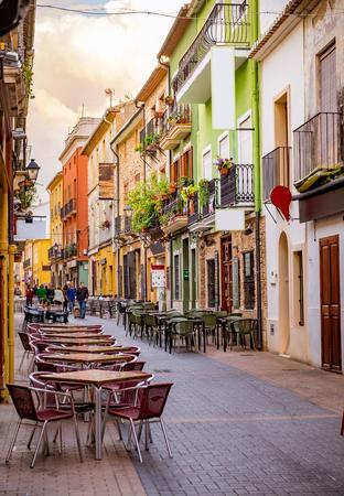 유럽의 옛 마을의 거리. 스톡 콘텐츠
