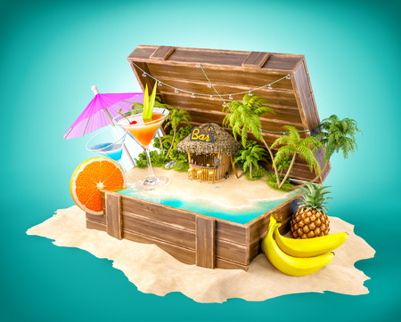 Tropical bar with cocktails and fresh fruits on the island inside opened wooden box on a pile of sand. Unusual party illustration