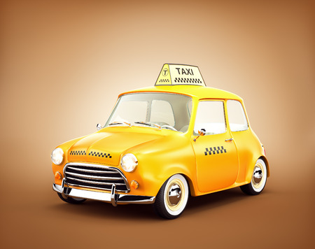 yellow taxi: Cute retro yellow taxi car.  3D rendering Stock Photo
