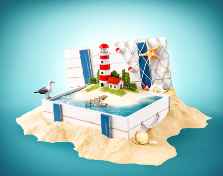 plank: Cute lighthouse on the island in opened wooden box on a pile of sand Stock Photo
